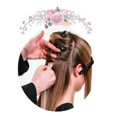 colocación de las extensiones de cabello adhesivas
