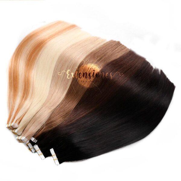 trama de colores de las extensiones de cabello